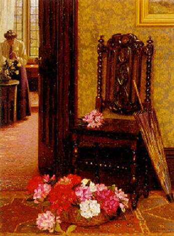 """""""Arranging Flowers."""" 1908. Oil on canvas."""