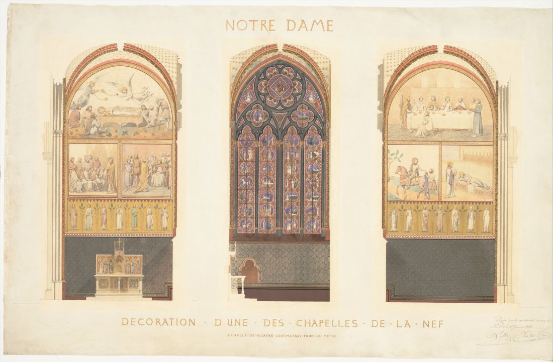 """""""Plan for the Renovation of a Chapel in the Nave of the Cathedral of Notre Dame."""" 1843."""