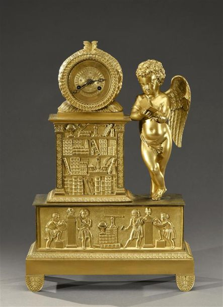 Pendulum clock decorated with a library and scientific objects, attached to an angel.
