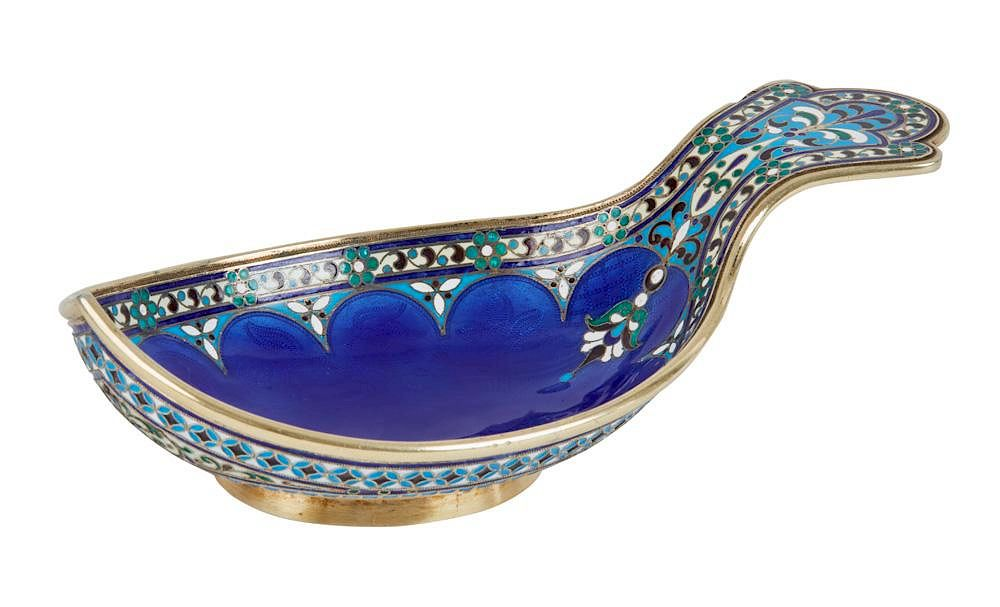 Kovsh in gilt-silver and guilloche, cloisonne and champleve enamel.