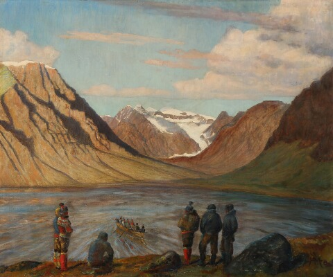 """""""Sealers watching an Umiak in a Greenlandic Fjord."""" No date."""