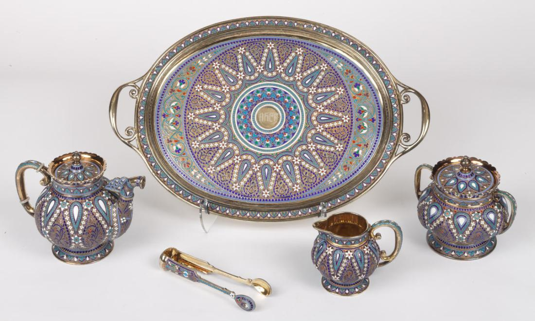 Tea set in  silver and cloisonné enamel. 1892.