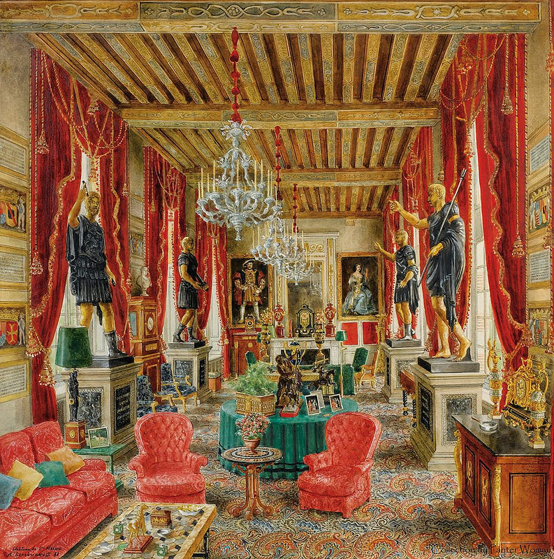"""Red Room of the Castle of Saint-Meme."" 1981."
