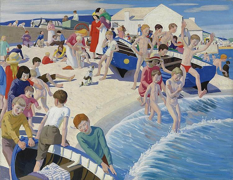 """""""On the Beach at Newlyn."""" 1919."""