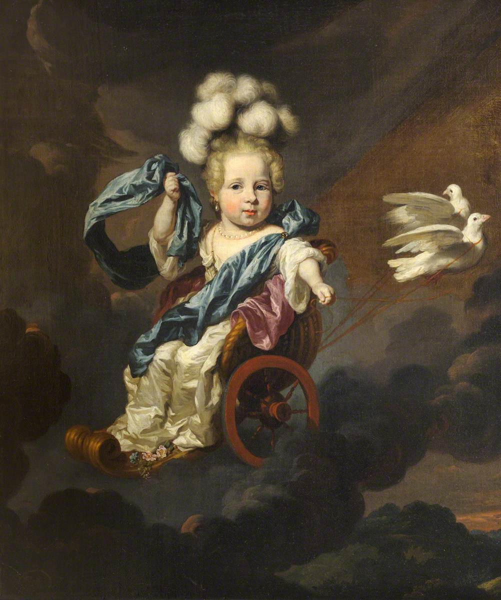"""""""Portrait of a Baby Girl as Venus, in a Chariot Drawn by Doves."""" 17th c."""