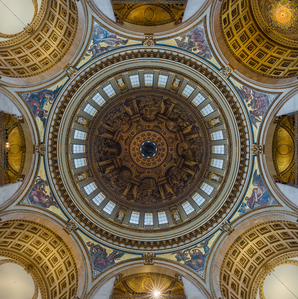 A view of Saint Paul's Cathedral's dome from directly below, showing the symmetry of the dome and cathedral. Top right is the eastern side. Bottom left is the western side. Top left is the northern transept. Bottom right is the southern transept.