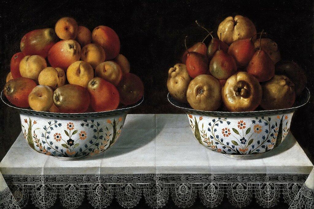 """""""Dos fruteros sobre una mesa."""" 1642. Oil on canvas."""