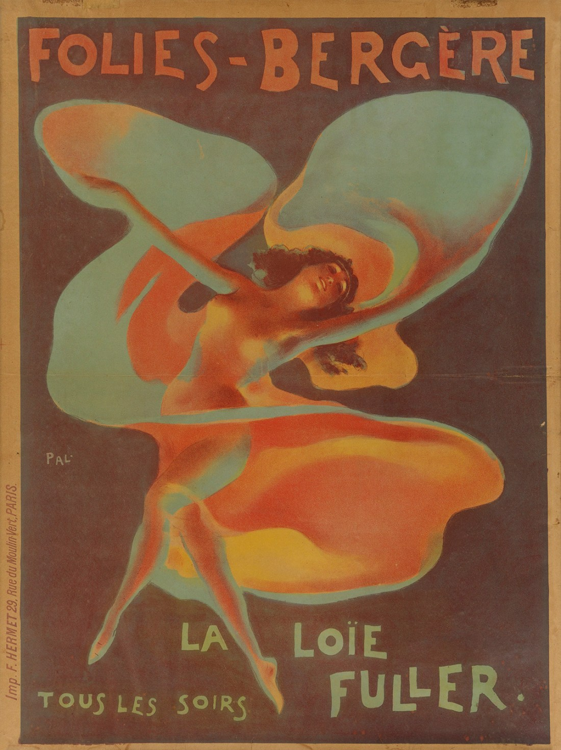 One of five posters designed to advertise the music hall star Loïe Fuller's performances at the Folies Bergère.