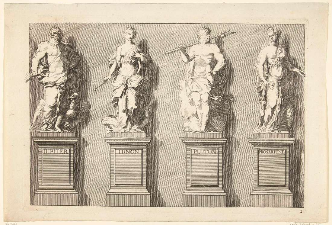 """Liber Statuarum: Jupiter, Juno, Pluto, Proserpina,"" from the ""Liure de Statues"" series. No date. Etching."