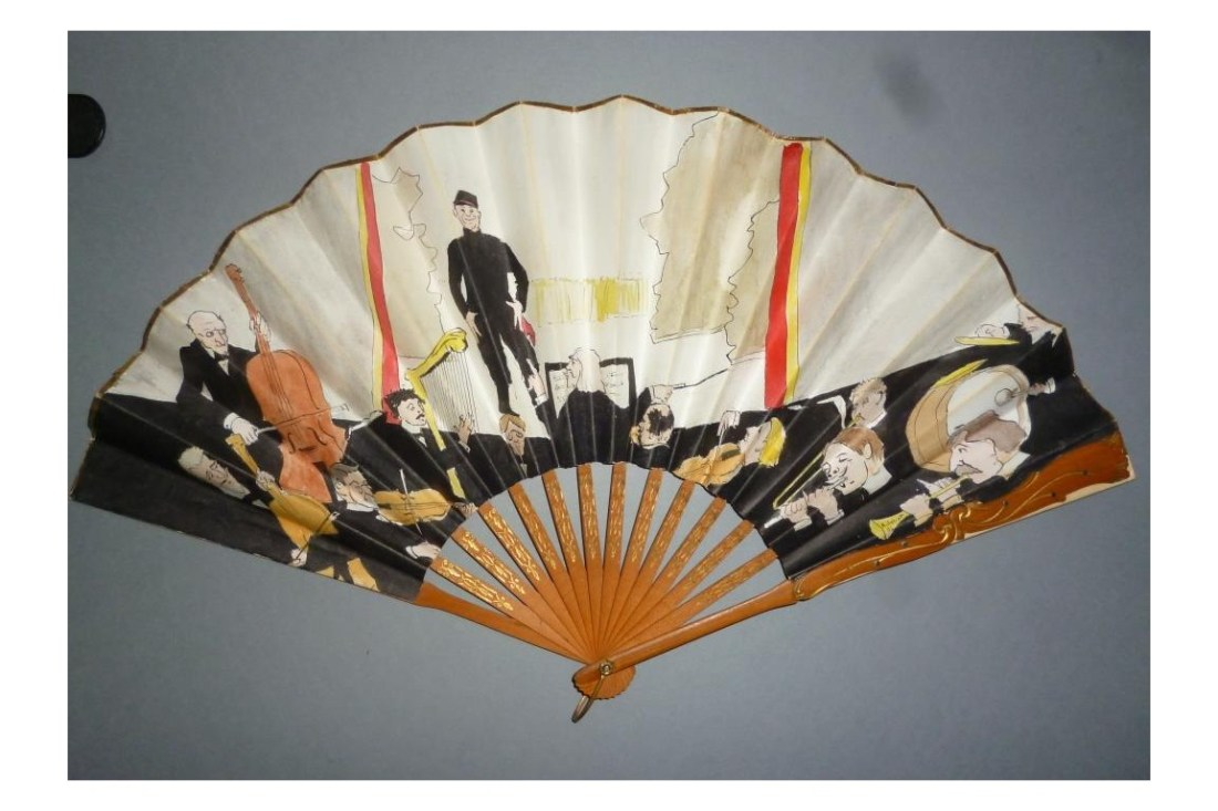"""""""The Concert,"""" hand fan with a painted paper leaf and wooden sticks. 1904."""