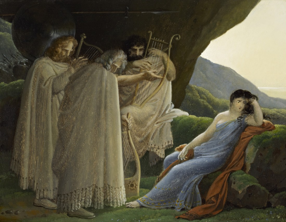 """Malvina Mourning the death of her Fiancé Oscar."" 19th c."