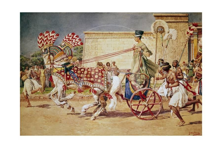 """""""Nefertiti in her Royal Chariot."""" No date."""