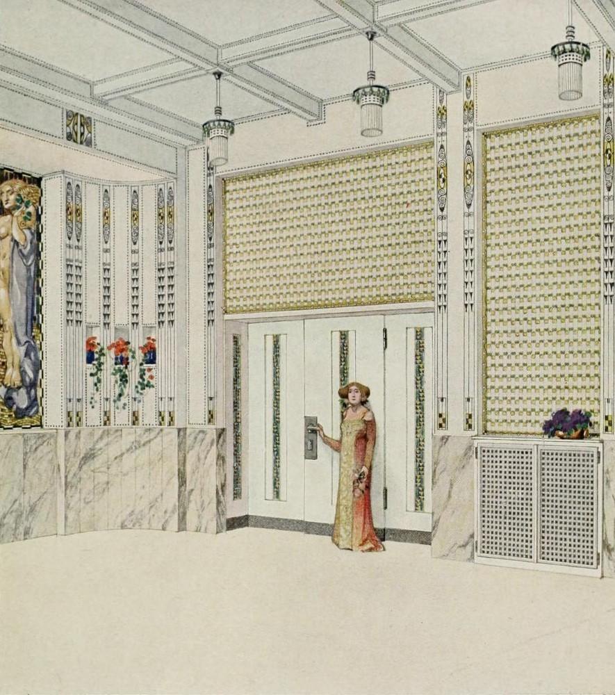 """""""Grand hôtel Wiesler à Graz (Autriche), salle des fêtes."""" (design for a hotel restaurant). ca. 1912."""