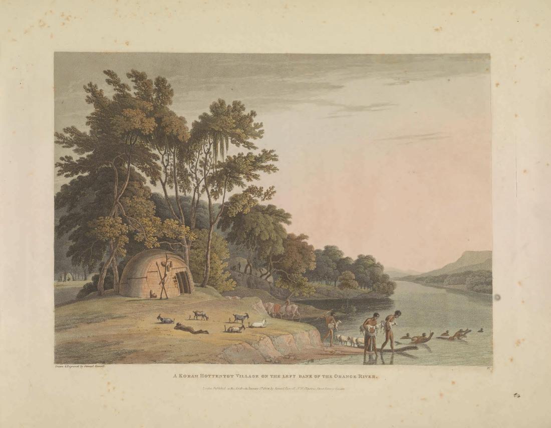 """""""A Korah Hottentot Village on the Left Bank of the Orange River."""" Page 12."""