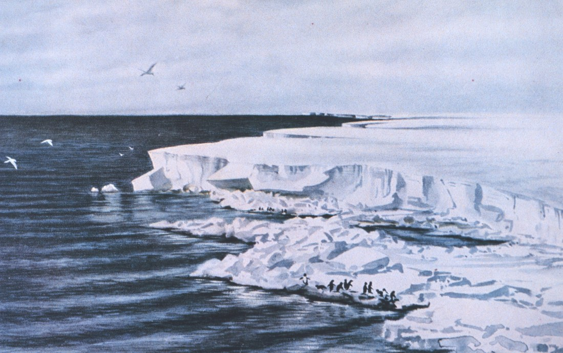 """""""The great ice barrier - looking east from Cape Crozier."""" January 4, 1911."""