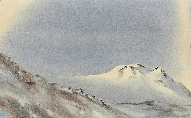 Edward Adrian Wilson Slopes of Mount Erebus Watercolour on paper laid down on card Painting 5 ¼ x 8 ½in. (13.3 x 21.6cm.) - Pirvte collection . png