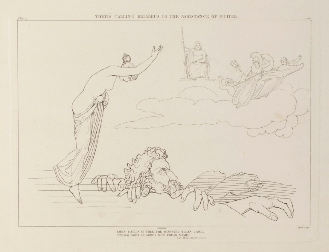 """""""Thetis calling Briareus to the assistance of Jupiter: Then call'd by Thee, the monster Titan came, Whom God's Briareus' men Aegean Name."""" Plate 4."""
