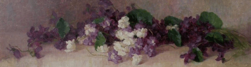 """""""Violets."""" No date. Oil on canvas on board.)"""