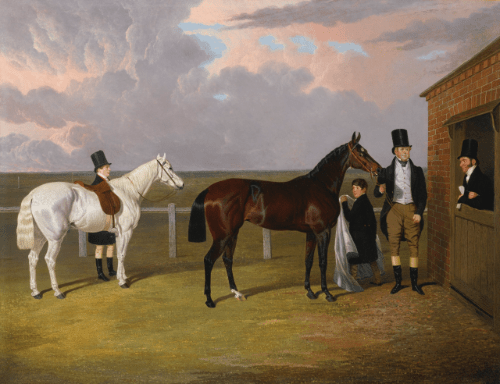 """""""Sir Mark Wood with his dark brown filly Vespa, winner of the Oaks in 1833, her trainer H. Scott and a Groom with a gray hack."""""""