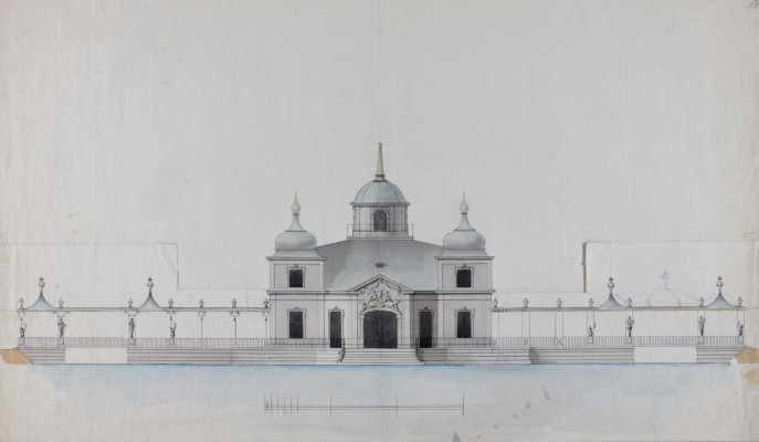 """""""Northern elevation of the Royal Lazienki with Chinese porches."""" ca. 1788."""