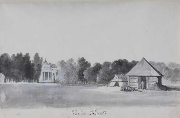"""""""View of the Palace on the Isle from the Southern Side, with a Wooden Guardhouse and Tent in the Foreground."""" 1784."""