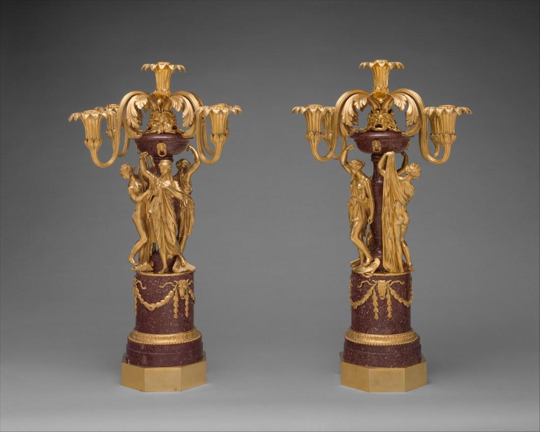 Pair of five-light candelabra