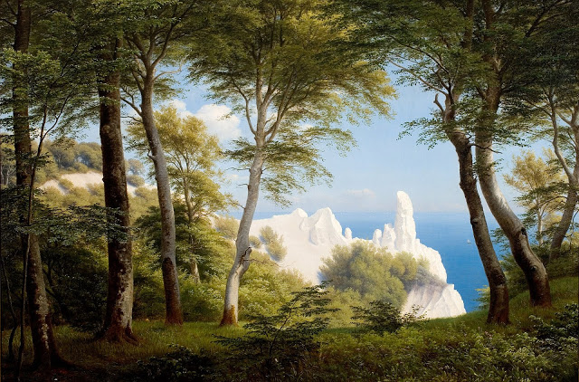Peter Christian Skovgaard (1850) _Udsigt_over_havet_fra_Møens_Klint_1850