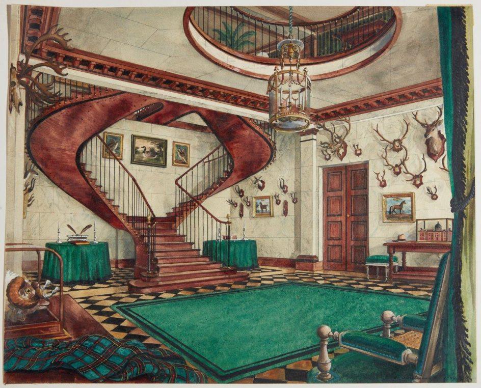 The main Hall, Château de Groussay. 1942. Watercolor.