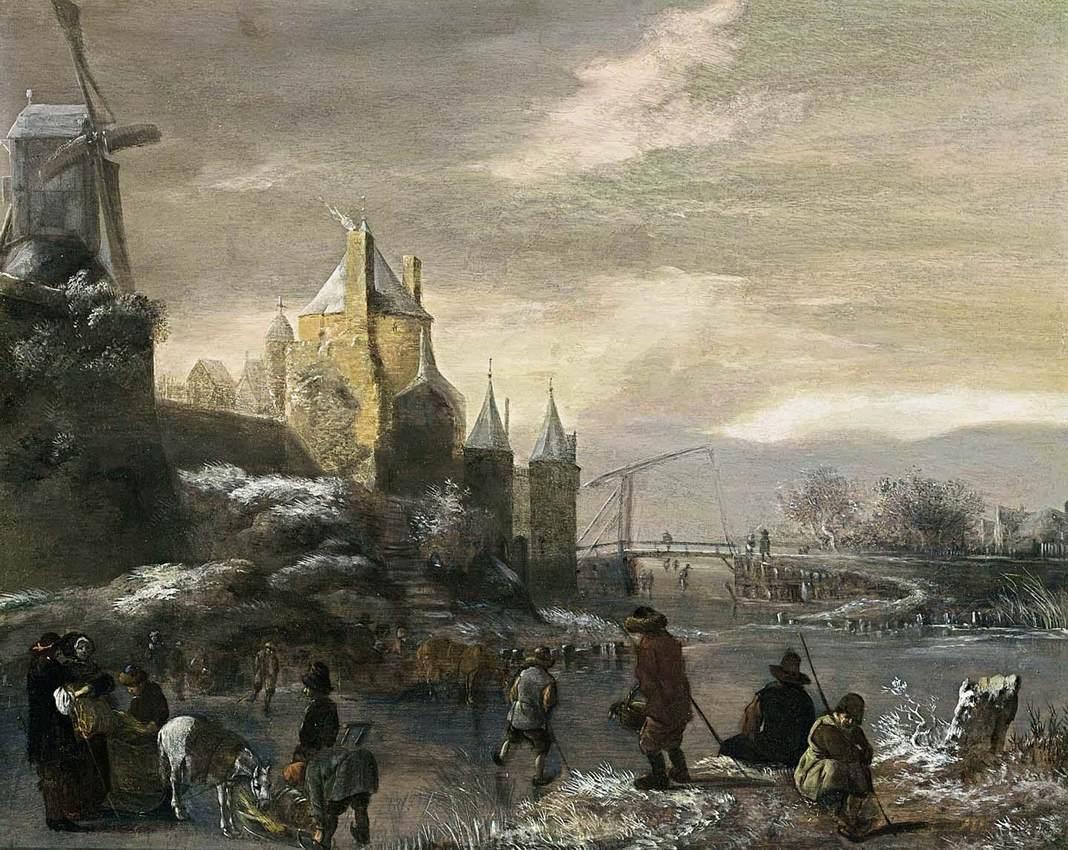 Klaes_Molenaer_-_Winter_Landscape_with_Skaters_-_WGA16111