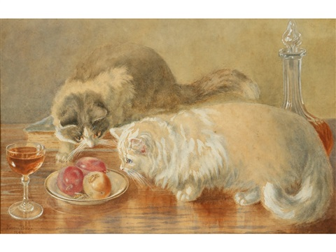 minnie-rosa-bebb-a-pair-of-kittens-watching-wasps-on-a-dish-of-fruit
