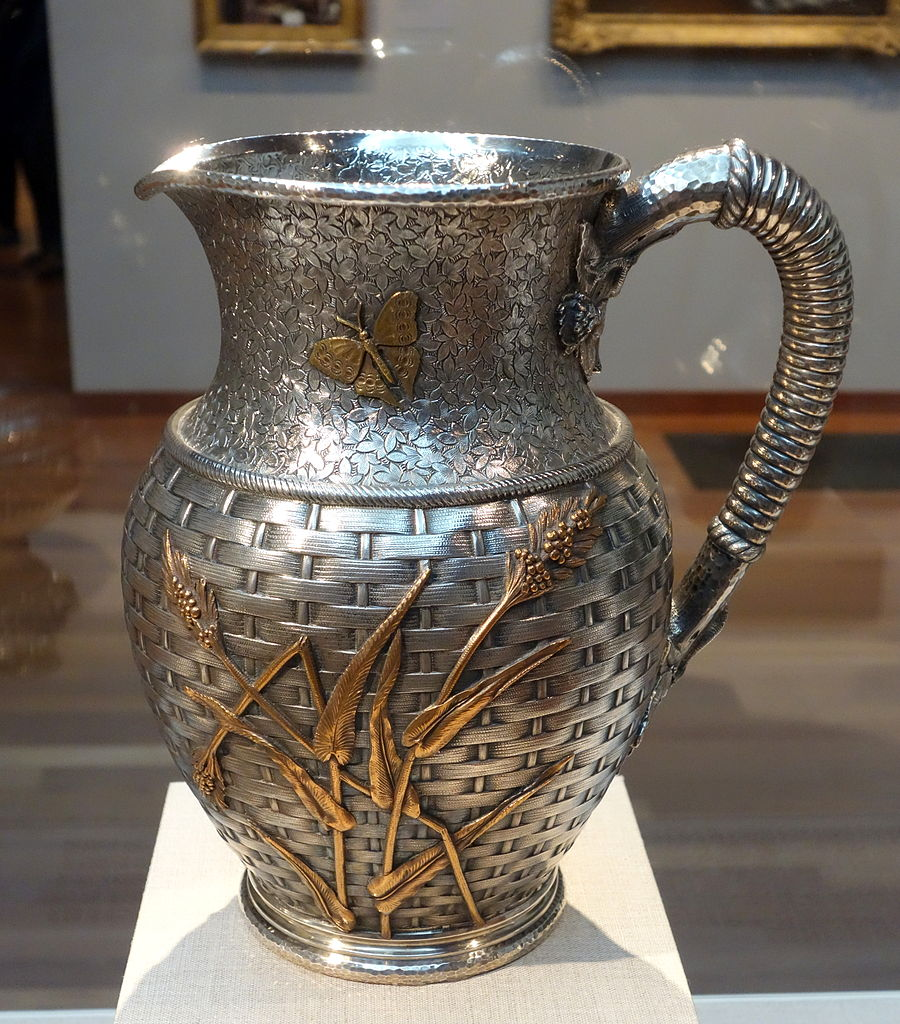 Pitcher,_Dominick_&_Haff,_New_York_City,_1879,_silver,_brass,_copper_-_De_Young_Museum_-_DSC00884