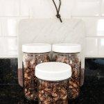 Image of three jars with toasted coconut granola
