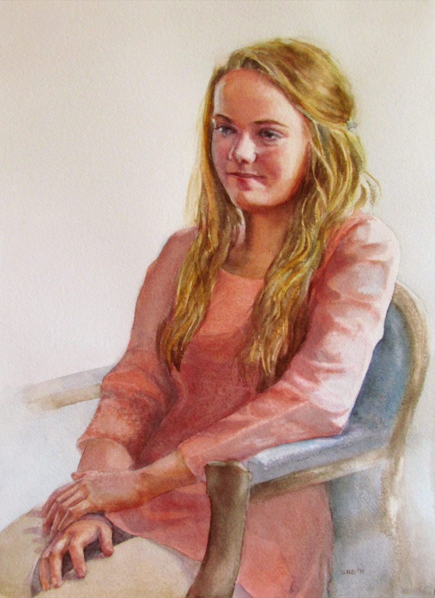 colored pastel portrait of young girl