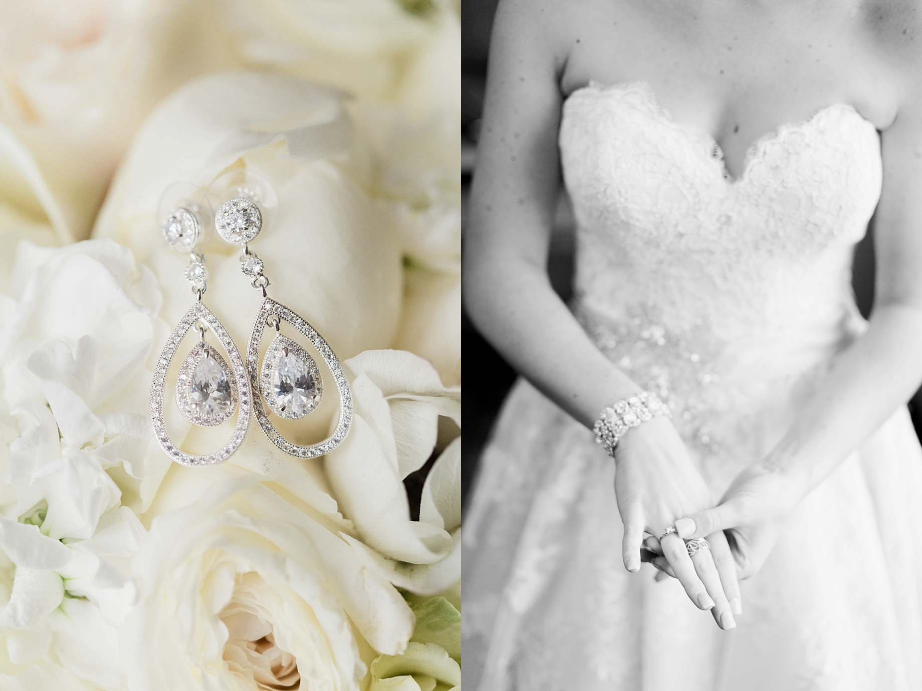 Bride putting jewelry on | William Penn Inn Wedding | Bridal Details