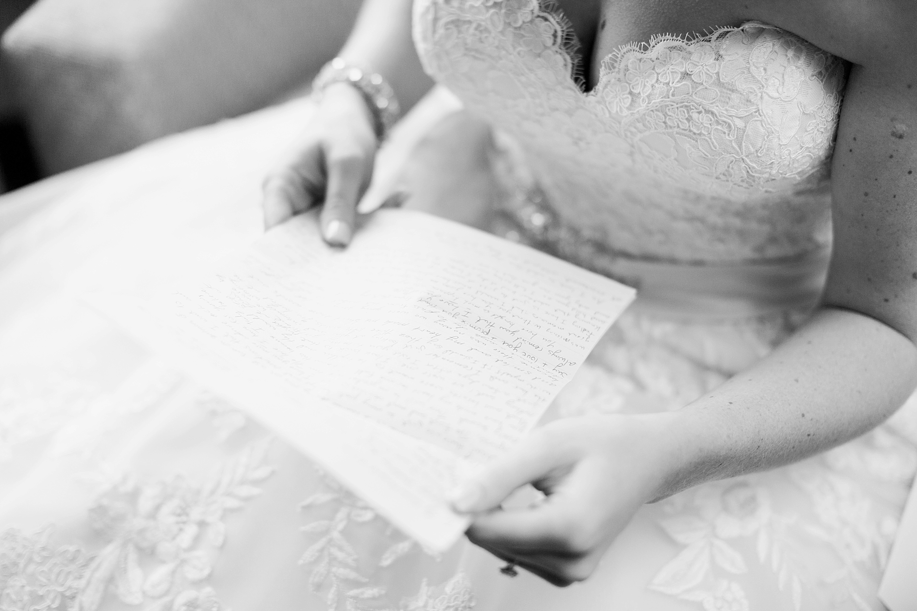 Bride reading a letter from the groom | William Penn Inn Wedding