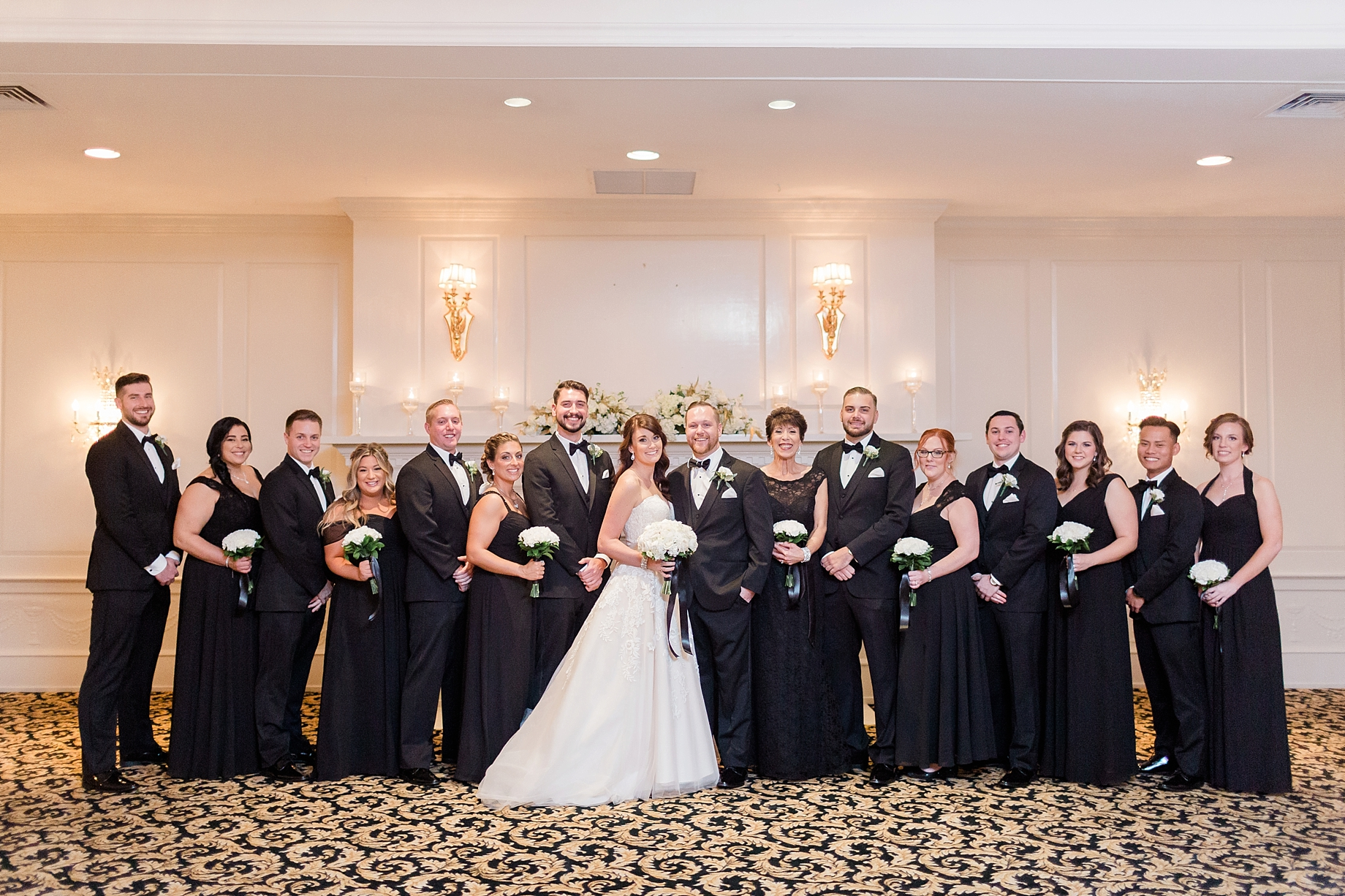 bridal party in black and white   William Penn Inn Wedding
