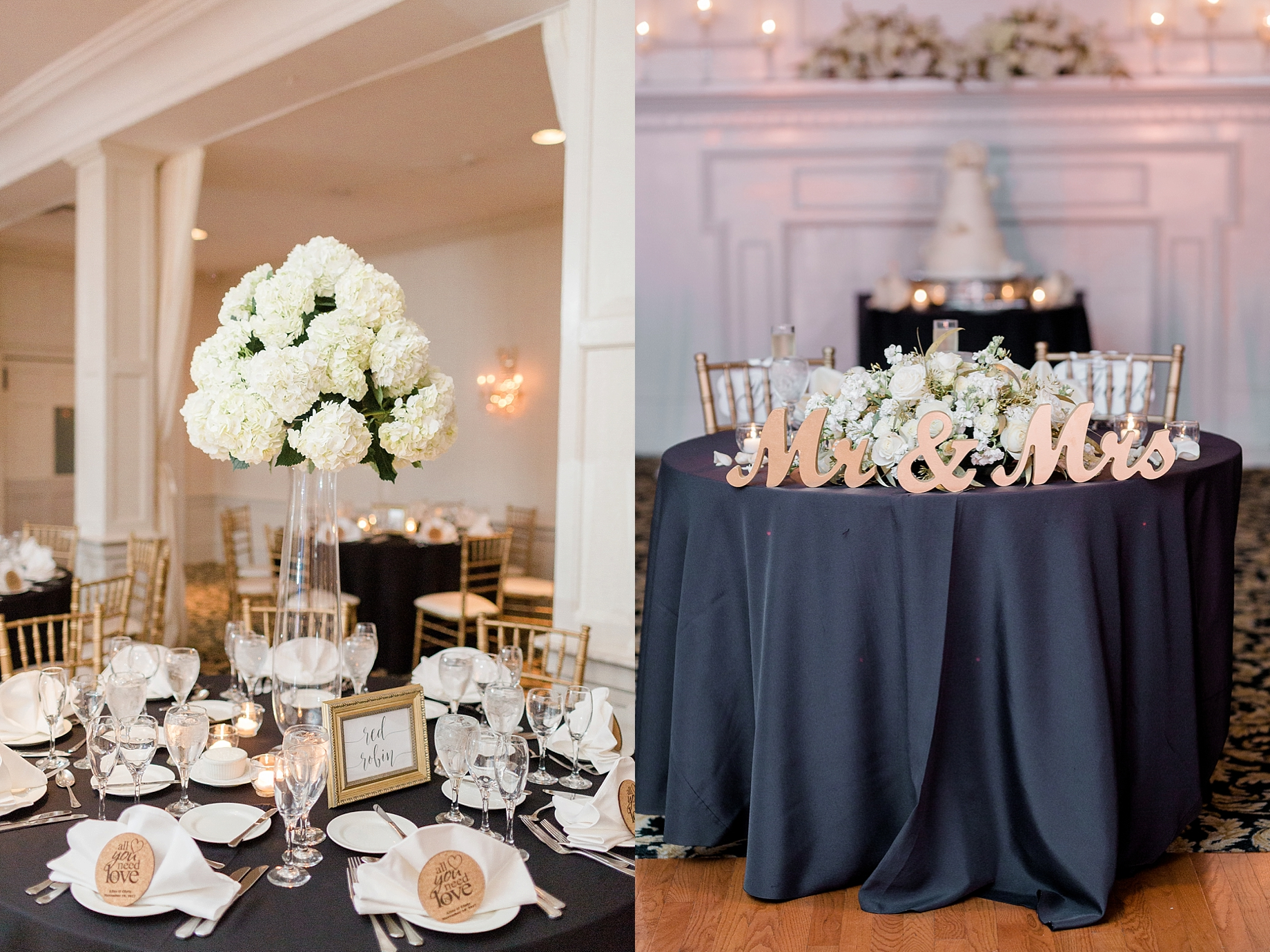 gold, black, and white wedding reception | william penn inn wedding