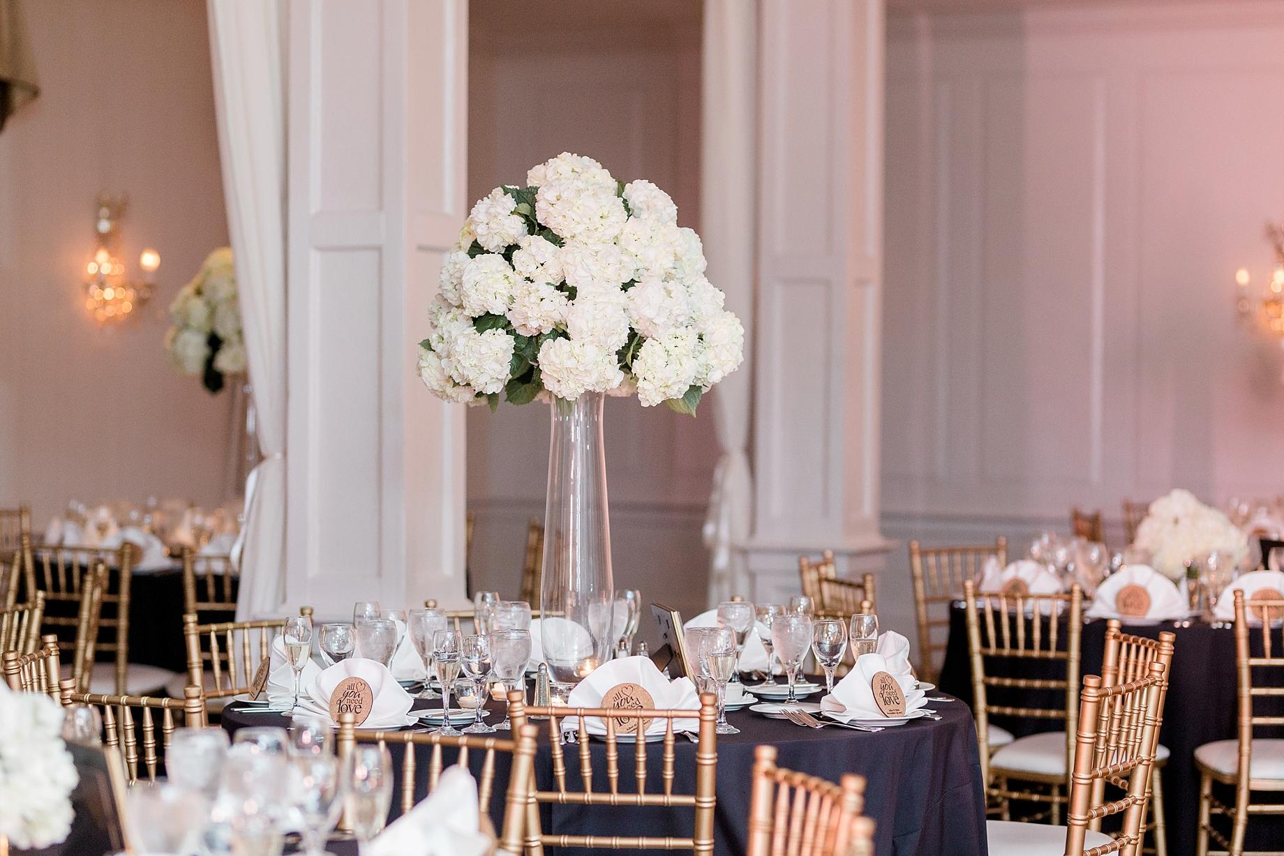 Tall white hydrangea centerpieces by the william penn inn