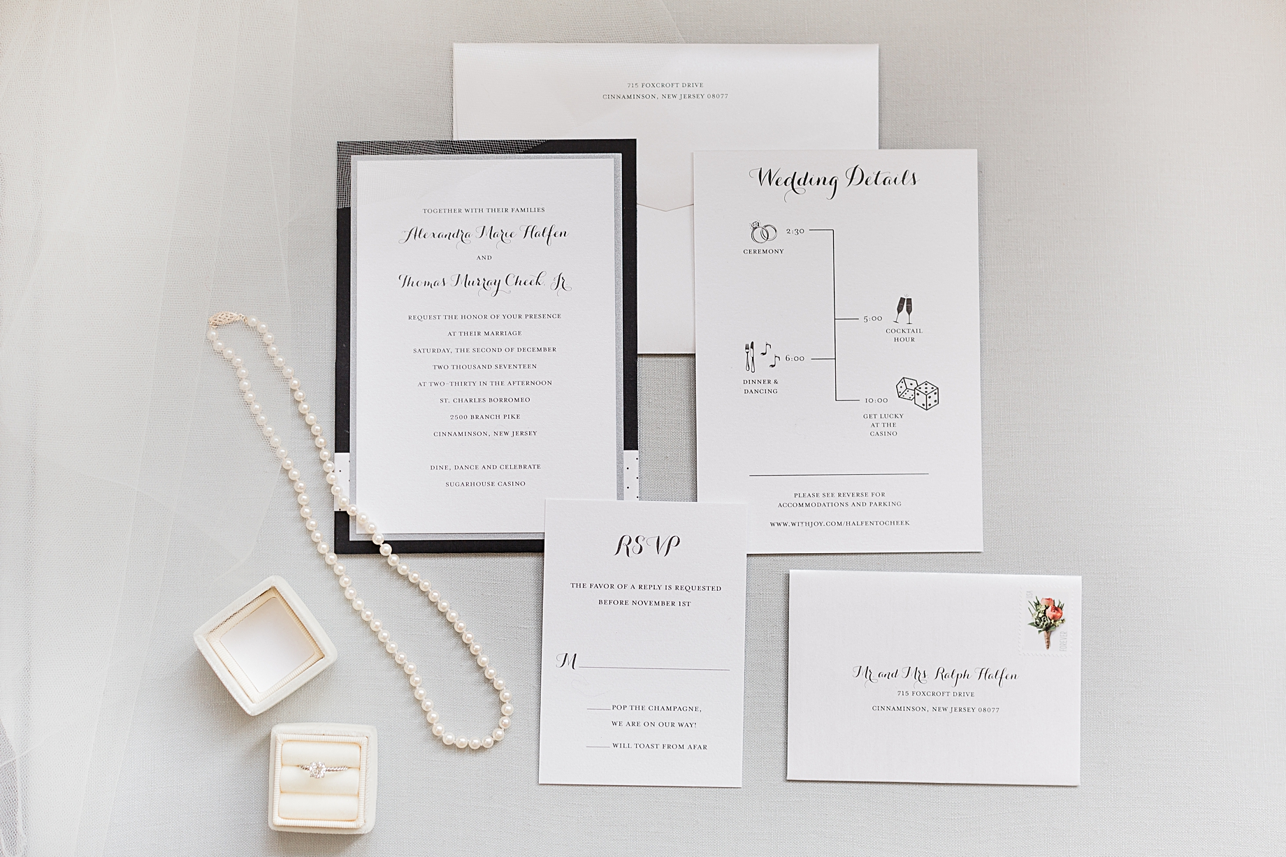 Invitation Suite by The Pleasure of Your Company | Philadelphia Winter Wedding