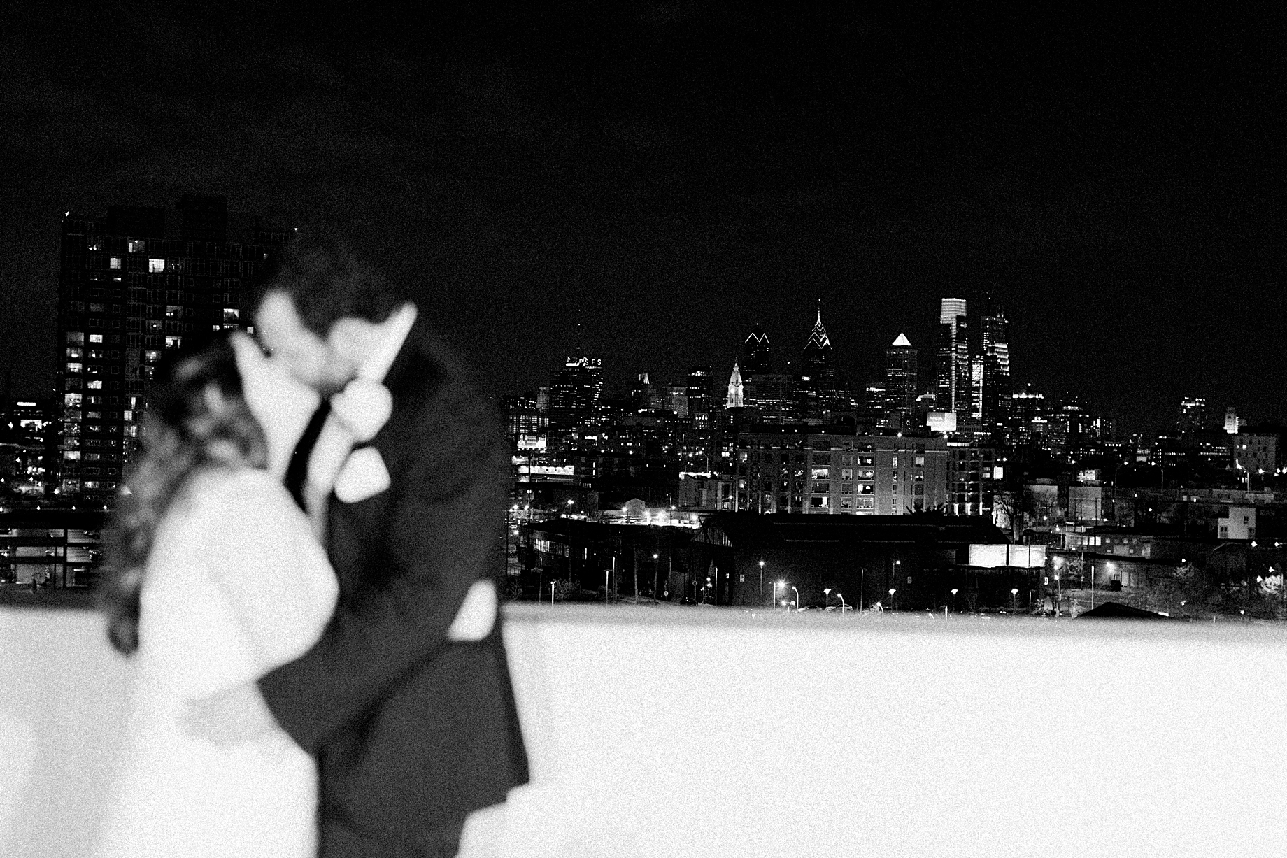 City Skyline Portrait | Sugarhouse Casino Wedding | Philadelphia Winter Wedding