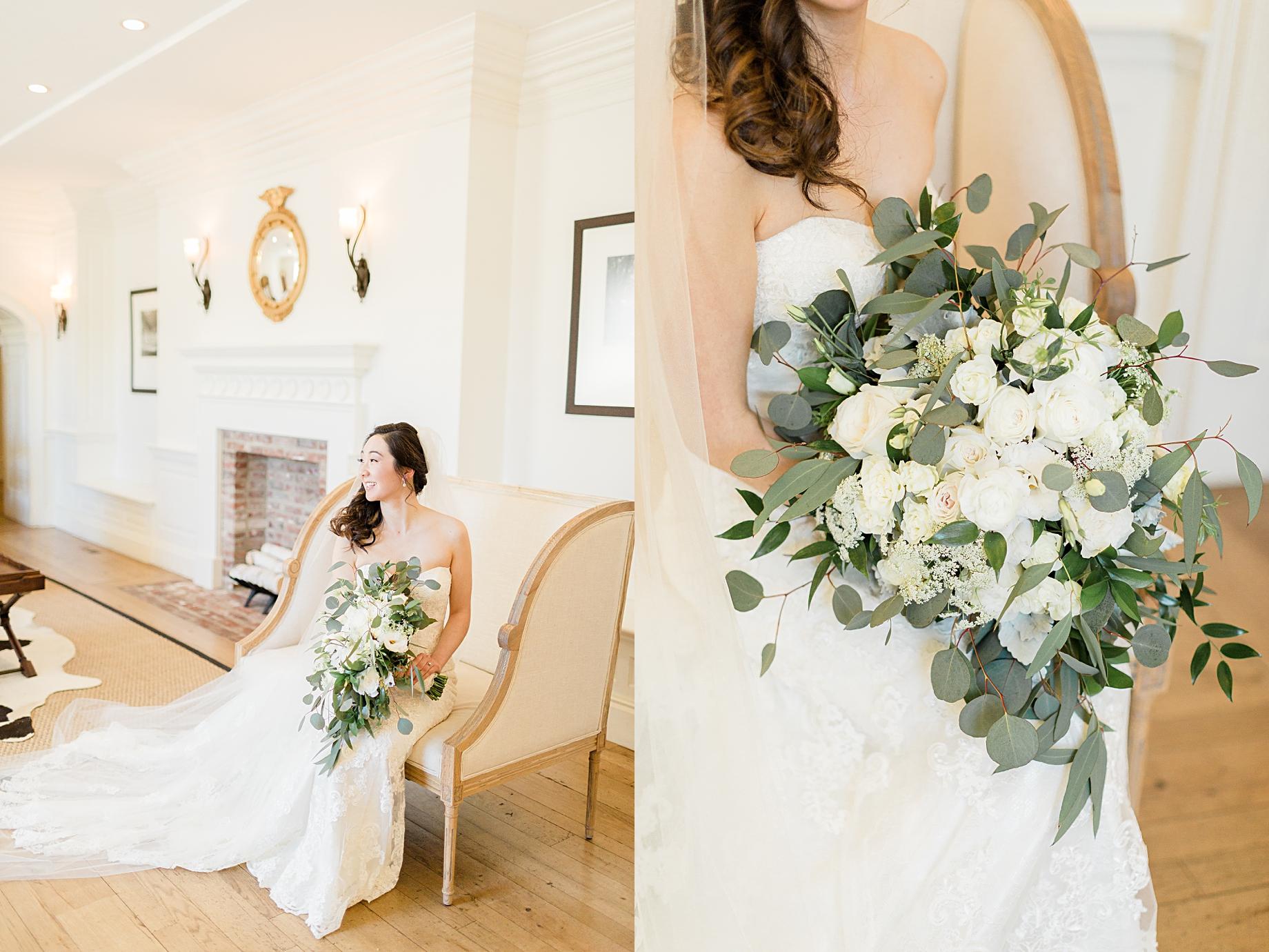 Elegant Winter Wedding at French Creek Golf Club bouquet by blue moon florist