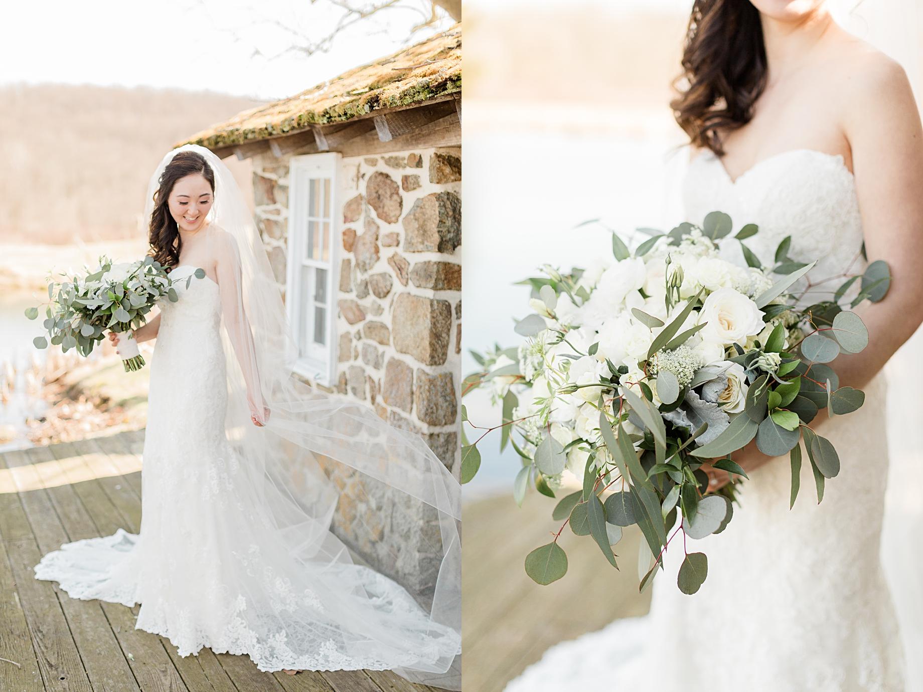 Elegant Winter Wedding at French Creek Golf Club | gown by essence of australia