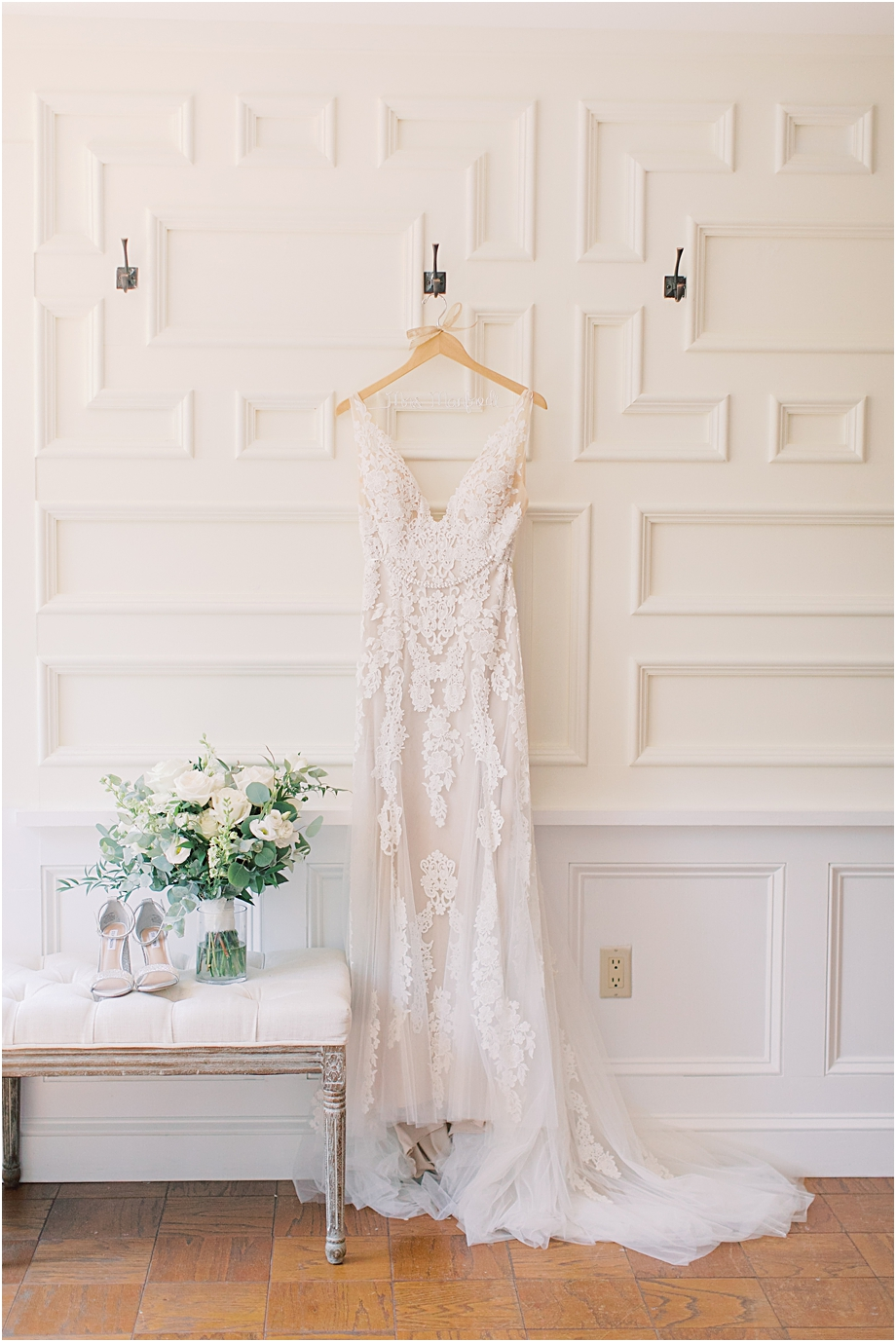 wedding dress hanging | Hotel Du Village Wedding