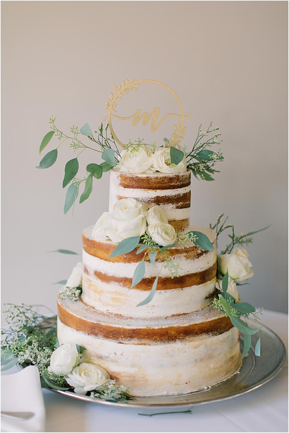 naked wedding cake | John James Audubon Center Wedding
