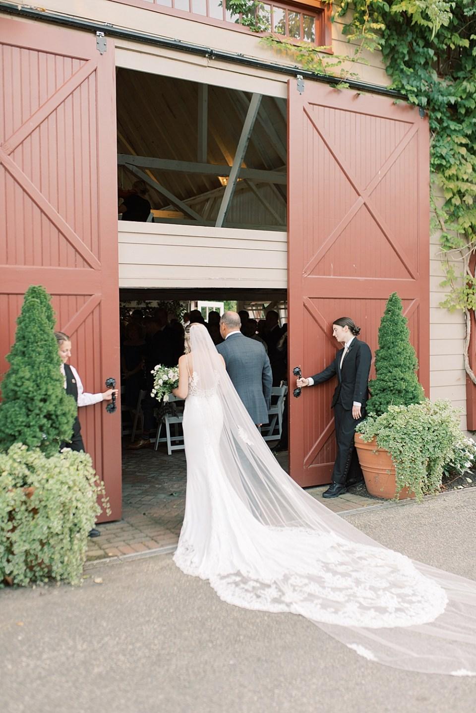 dad + daughter walking down the aisle | Ashford Estate wedding ceremony | new jersey wedding photographer sarah canning