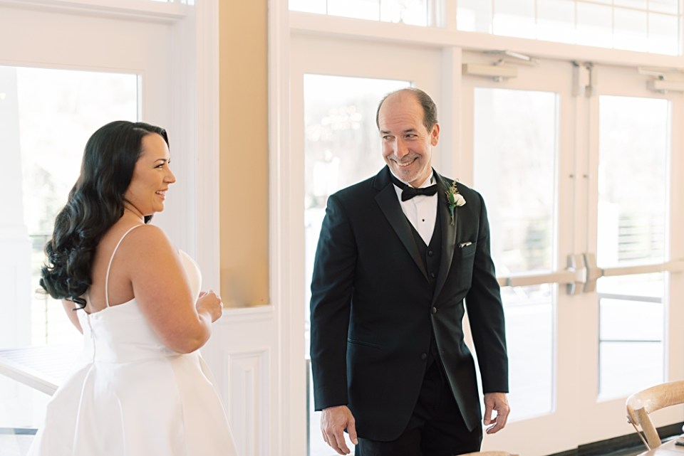 first look with dad on wedding day | bear brook valley wedding
