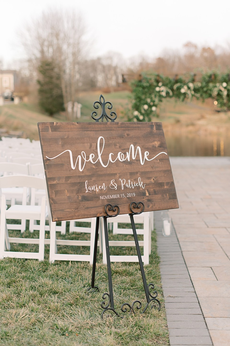 wooden ceremony welcome sign | bear brook valley wedding | sarah canning photography