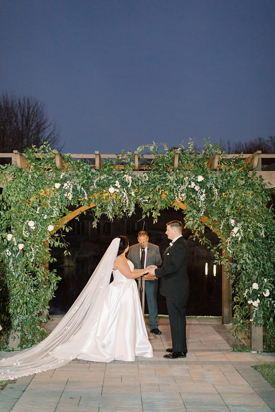 outdoor ceremony at dusk | bear brook valley wedding | sarah canning photography
