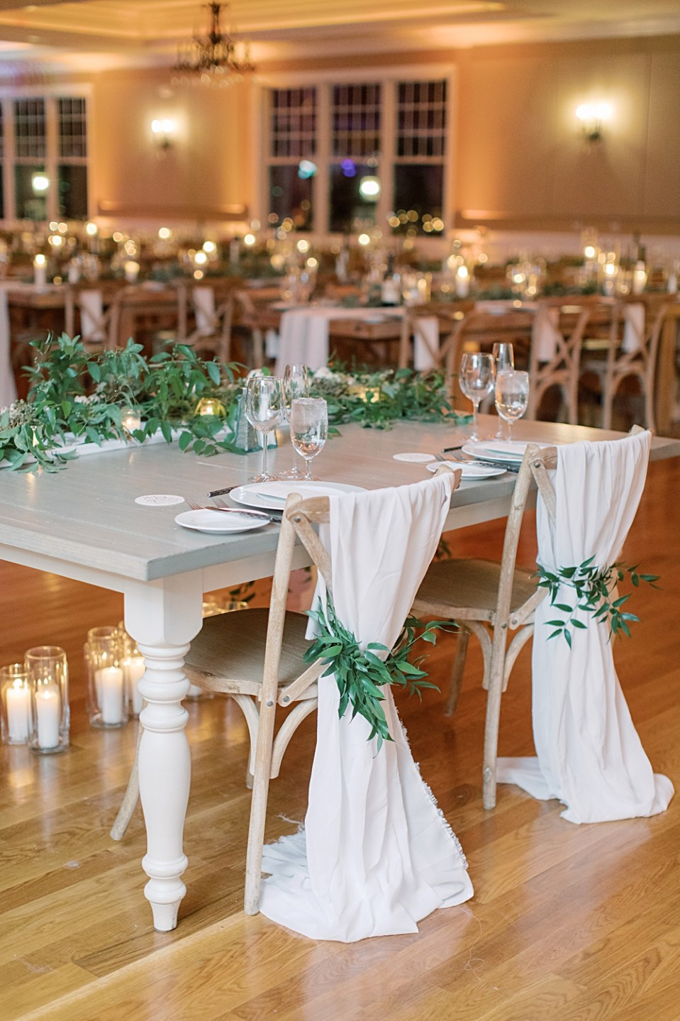 bride and groom head table | table greenery | sarah canning photography