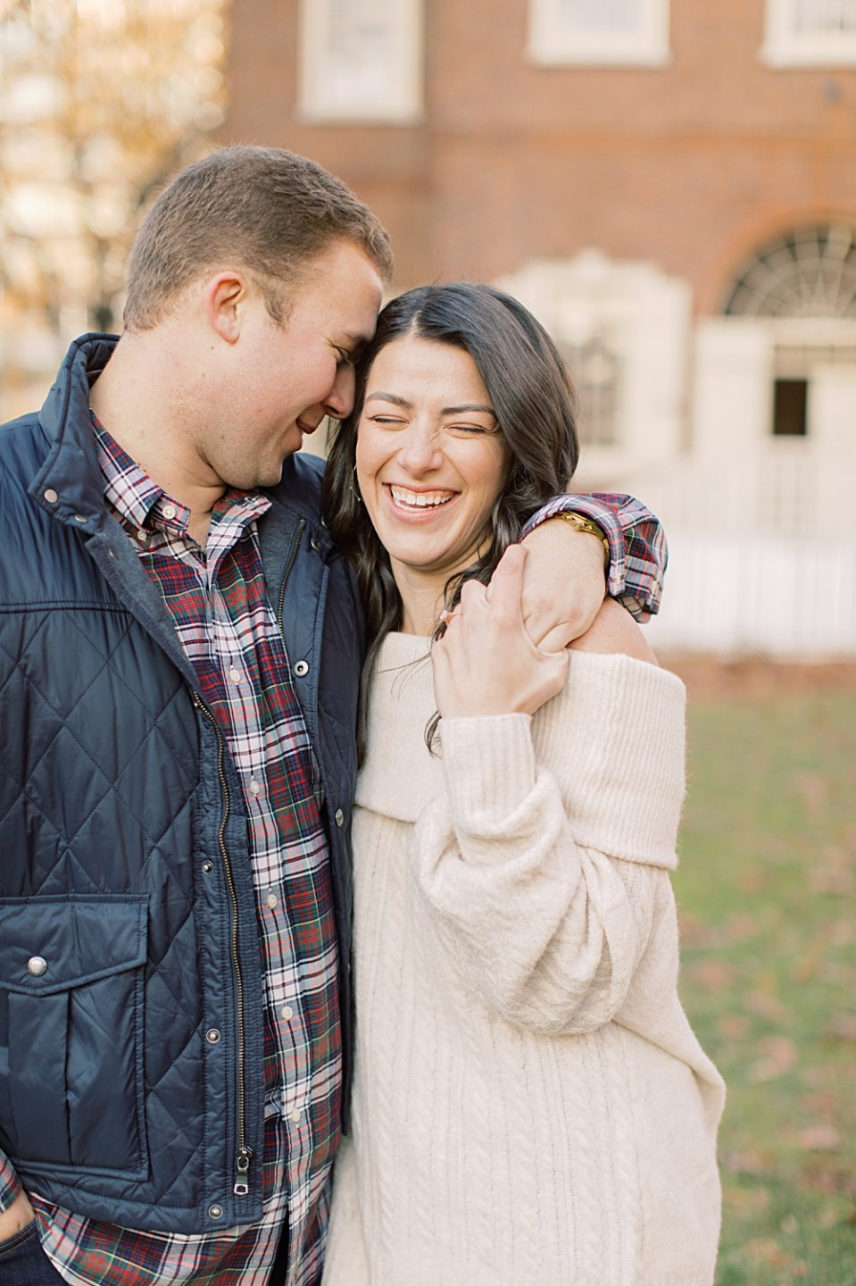 Happy couple laughing | Old City Philadelphia Engagement Session